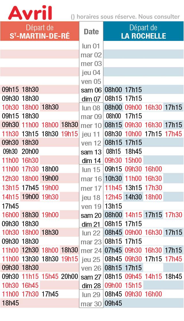 horaires navette maritime avril 2019