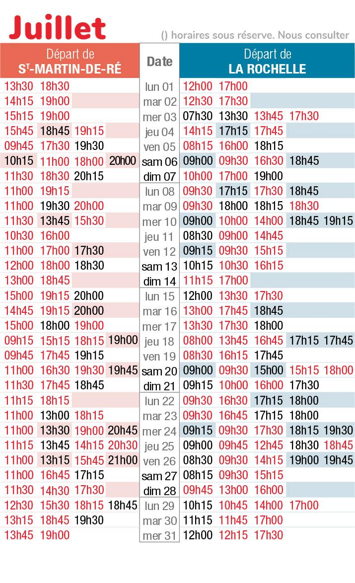 horaires navette maritime juillet 2019