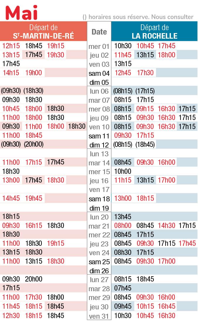 horaires navette maritime mai 2019