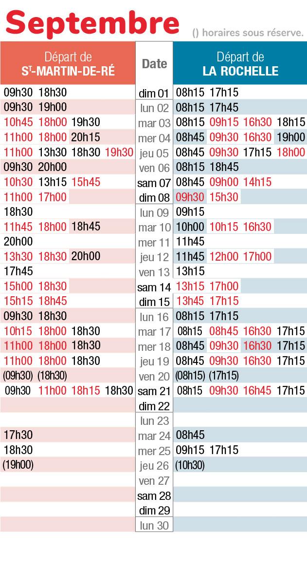 horaires navette maritime septembre 2019