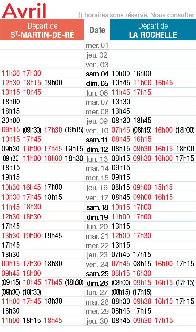 horaires navette maritime avril 2020