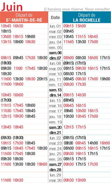 horaires navette maritime juin 2020