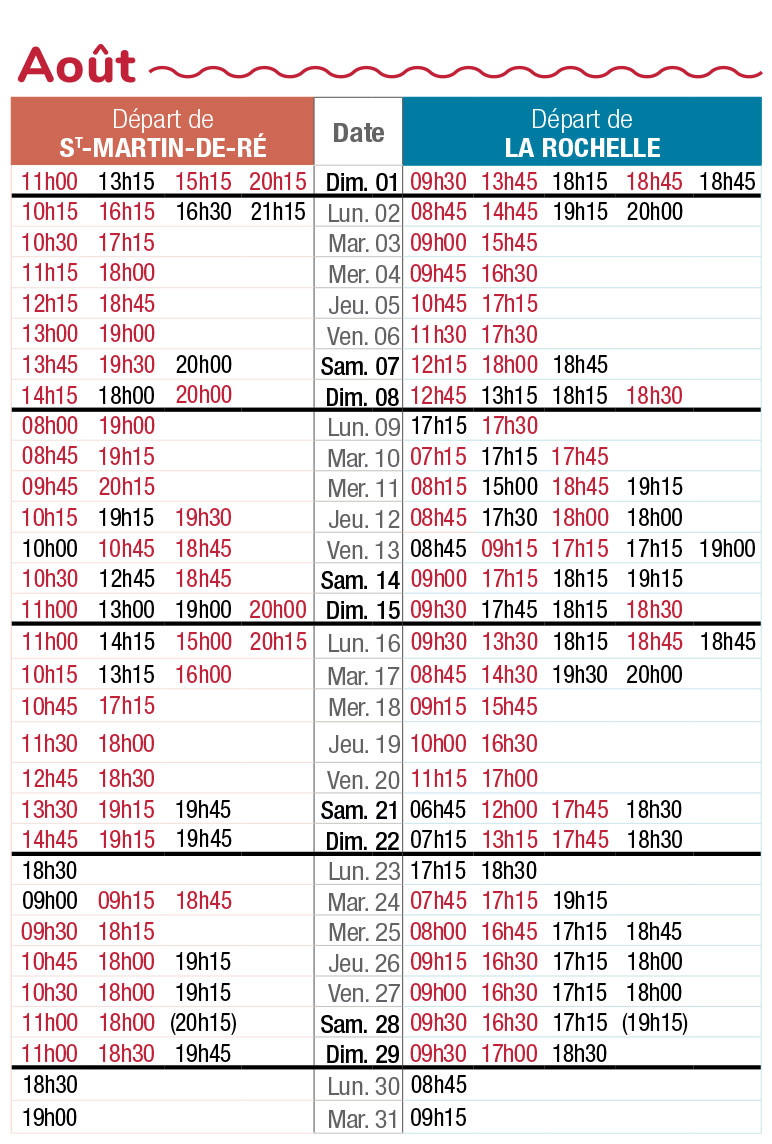 horaires navette maritime aout