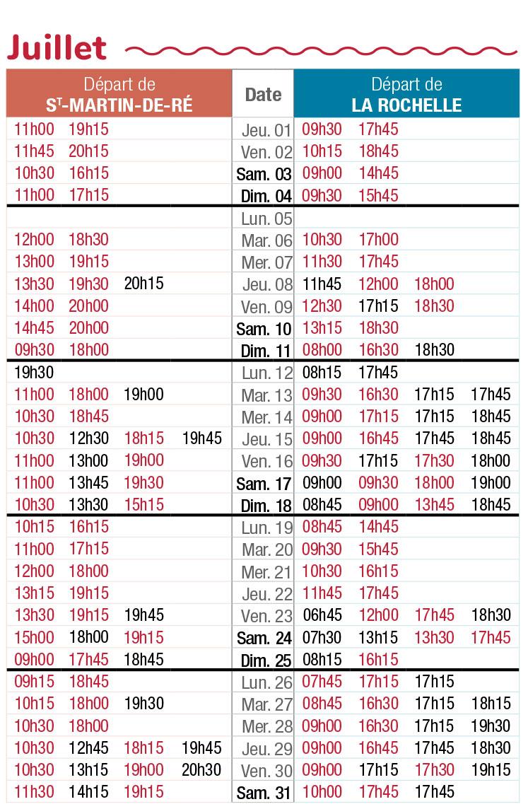 horaires navette maritime juillet