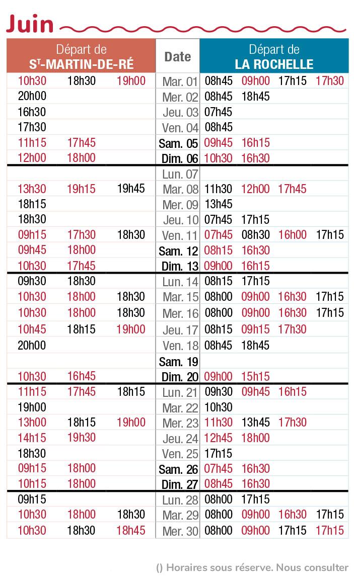 horaires navette maritime juin