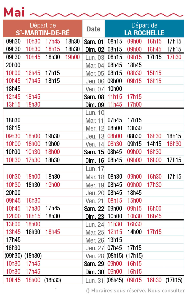 horaires navette maritime mai