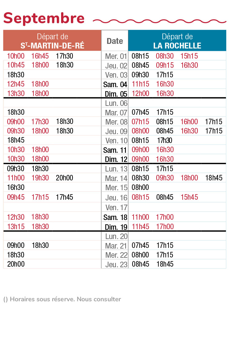 horaires navette maritime septembre