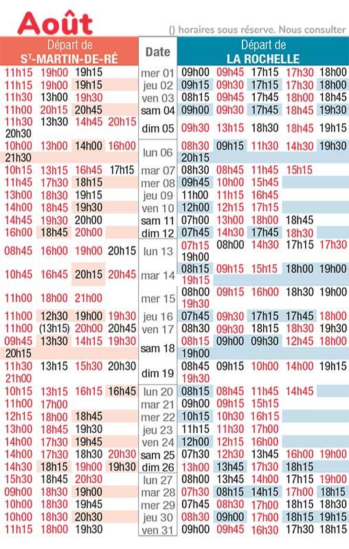 horaires navette maritime juin 2018
