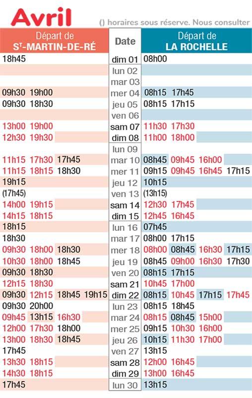 horaires navette maritime avril 2018